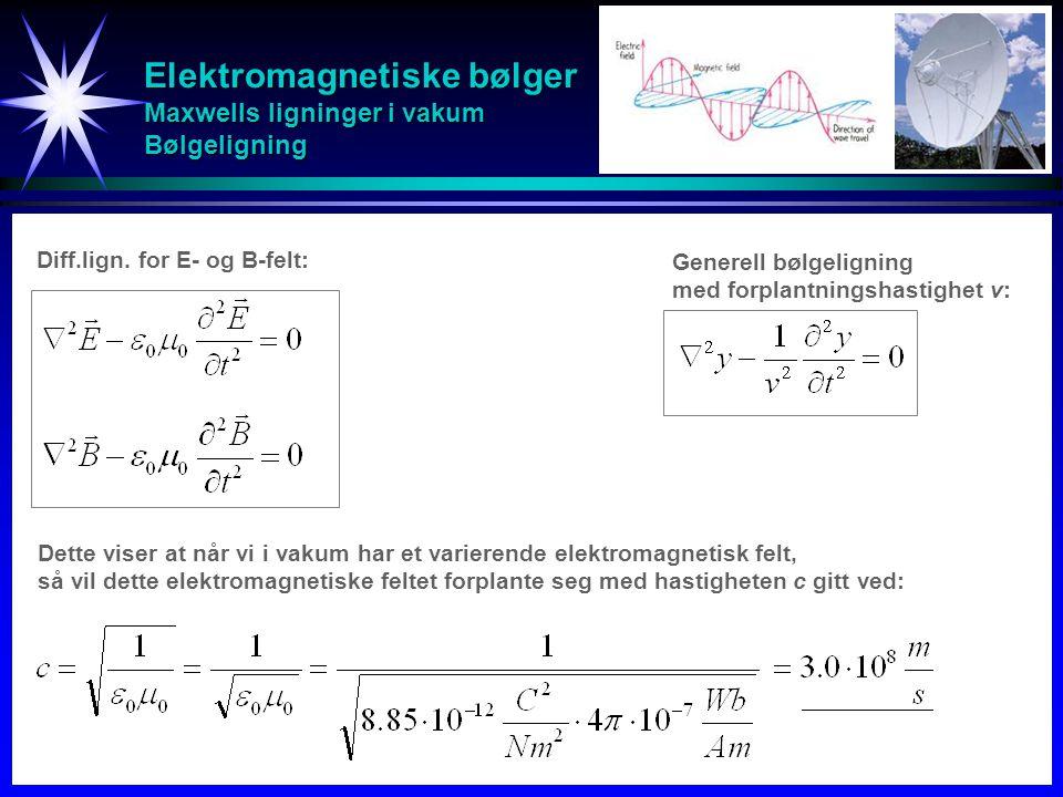 Elektromagnetiske bølger Maxwells ligninger i vakum Bølgeligning Diff.lign. for E- og B-felt: Generell bølgeligning med forplantningshastighet v: Dett