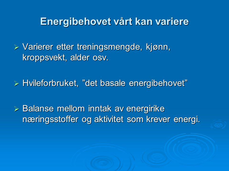 """Energibehovet vårt kan variere  Varierer etter treningsmengde, kjønn, kroppsvekt, alder osv.  Hvileforbruket, """"det basale energibehovet""""  Balanse m"""