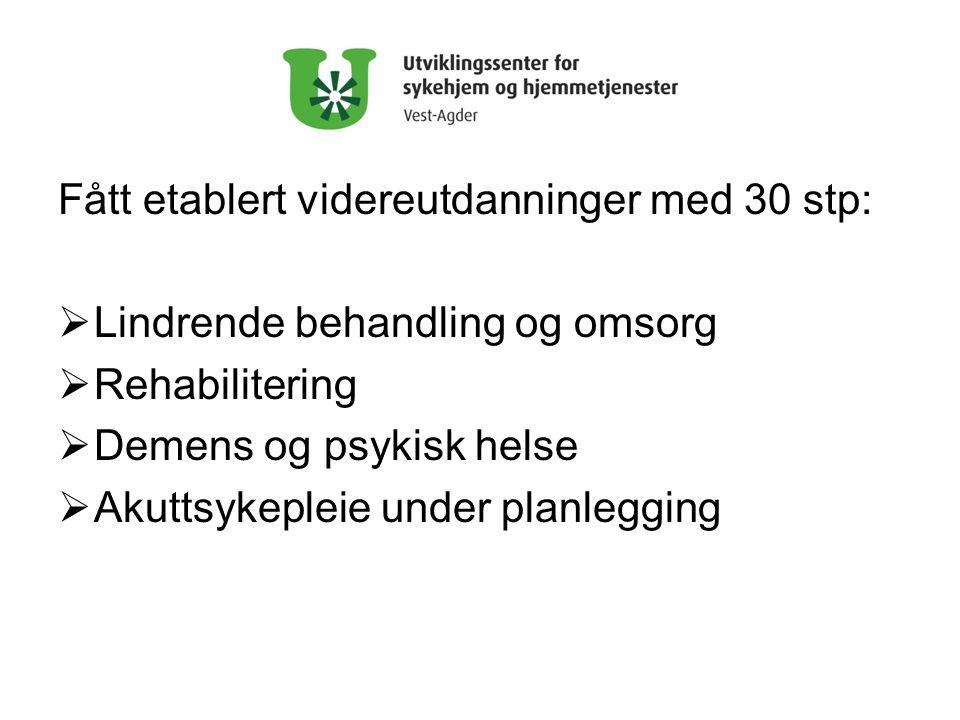 Fått etablert videreutdanninger med 30 stp:  Lindrende behandling og omsorg  Rehabilitering  Demens og psykisk helse  Akuttsykepleie under planlegging