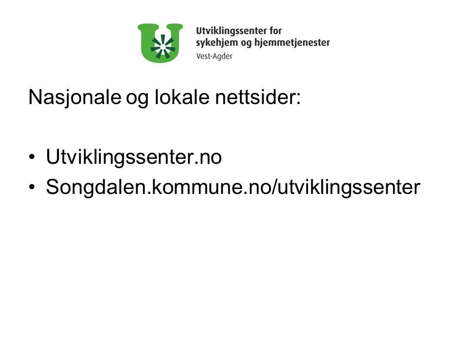 Nasjonale og lokale nettsider: •Utviklingssenter.no •Songdalen.kommune.no/utviklingssenter