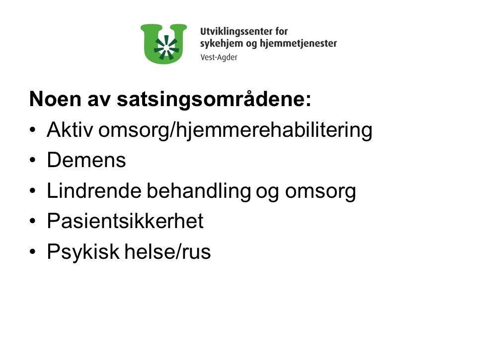 Noen av satsingsområdene: •Aktiv omsorg/hjemmerehabilitering •Demens •Lindrende behandling og omsorg •Pasientsikkerhet •Psykisk helse/rus