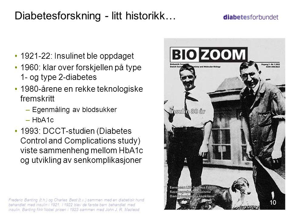 Diabetesforskning - litt historikk… •1921-22: Insulinet ble oppdaget •1960: klar over forskjellen på type 1- og type 2-diabetes •1980-årene en rekke t