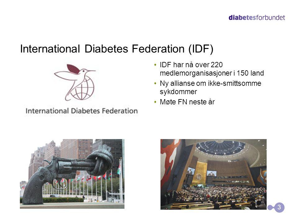 International Diabetes Federation (IDF) •IDF har nå over 220 medlemorganisasjoner i 150 land •Ny allianse om ikke-smittsomme sykdommer •Møte FN neste