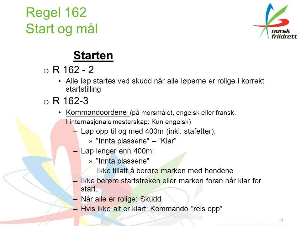 14 Regel 162 Start og mål Starten o R 162 - 2 •Alle løp startes ved skudd når alle løperne er rolige i korrekt startstilling o R 162-3 •Kommandoordene (på morsmålet, engelsk eller fransk.
