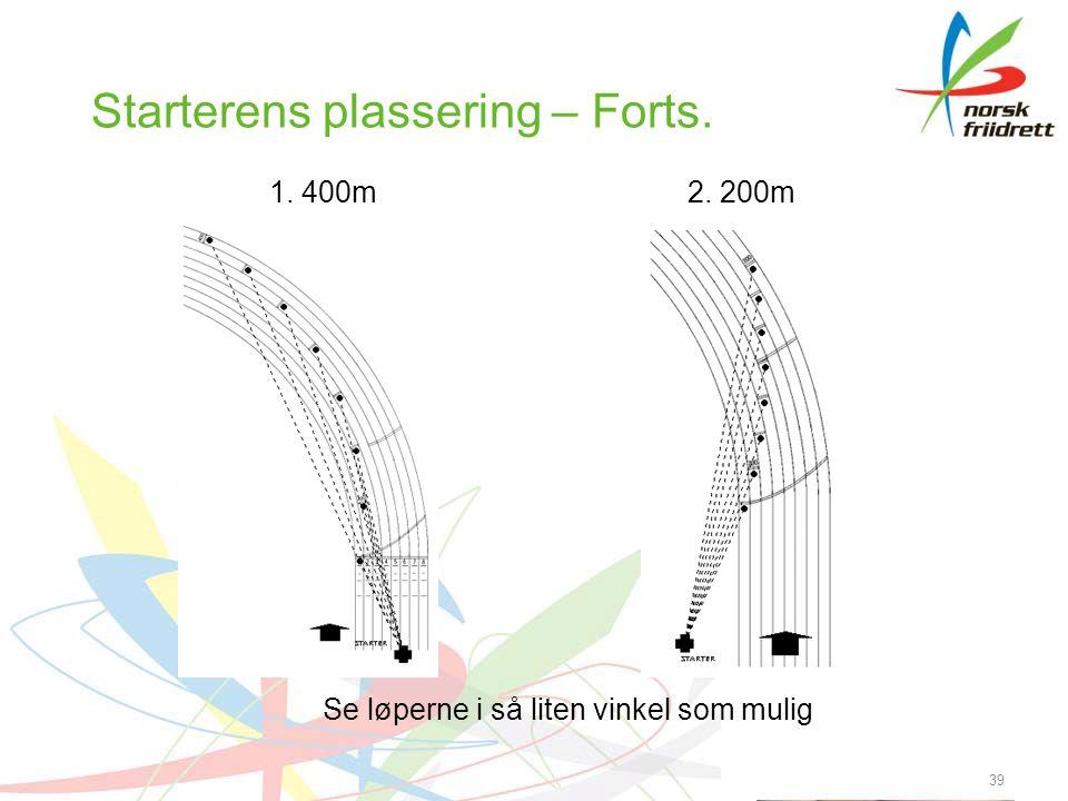 39 Starterens plassering – Forts. 1. 400m2. 200m Se løperne i så liten vinkel som mulig