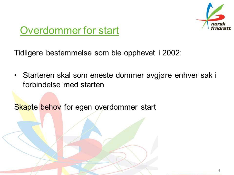 4 Overdommer for start Tidligere bestemmelse som ble opphevet i 2002: •Starteren skal som eneste dommer avgjøre enhver sak i forbindelse med starten Skapte behov for egen overdommer start