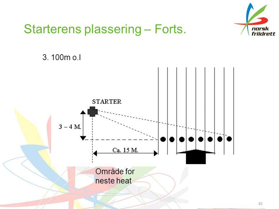 40 Starterens plassering – Forts. 3. 100m o.l Område for neste heat
