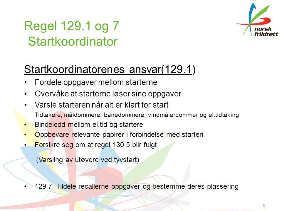 9 Anbefalt praksis i Norge •Stevner approbert av IAAF startkoordinator oppnevnes •Andre stevner: Inntil videre ingen startkoordinator.