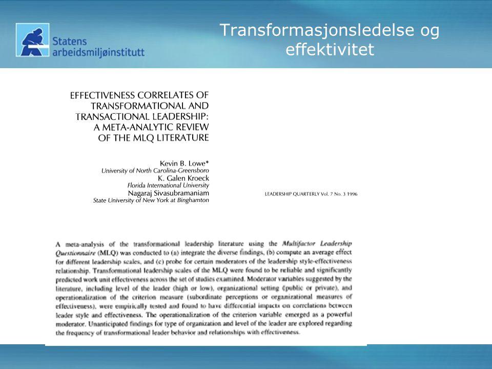Transformasjonsledelse og effektivitet