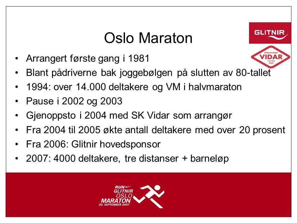 3 Oslo Maraton •Arrangert første gang i 1981 •Blant pådriverne bak joggebølgen på slutten av 80-tallet •1994: over 14.000 deltakere og VM i halvmaraton •Pause i 2002 og 2003 •Gjenoppsto i 2004 med SK Vidar som arrangør •Fra 2004 til 2005 økte antall deltakere med over 20 prosent •Fra 2006: Glitnir hovedsponsor •2007: 4000 deltakere, tre distanser + barneløp