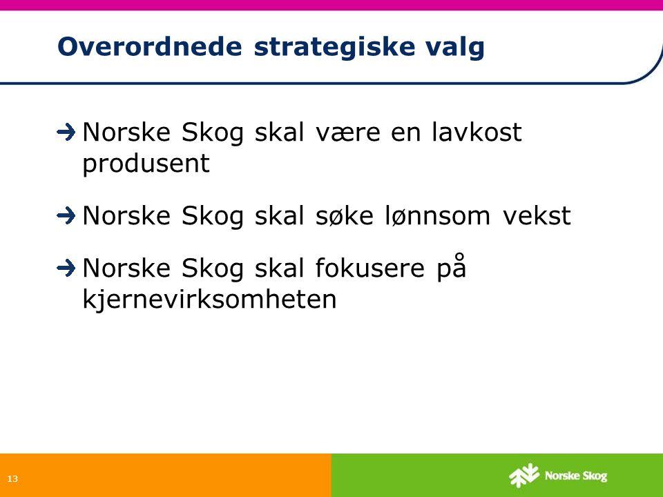 13 Overordnede strategiske valg Norske Skog skal være en lavkost produsent Norske Skog skal søke lønnsom vekst Norske Skog skal fokusere på kjernevirk