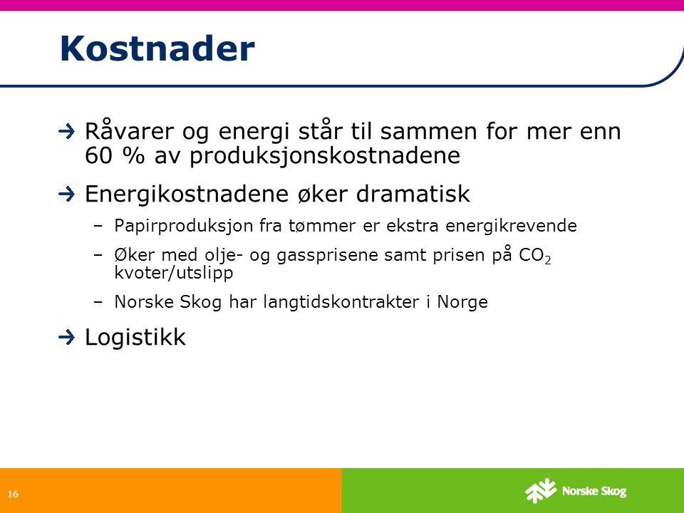 16 Kostnader Råvarer og energi står til sammen for mer enn 60 % av produksjonskostnadene Energikostnadene øker dramatisk –Papirproduksjon fra tømmer e