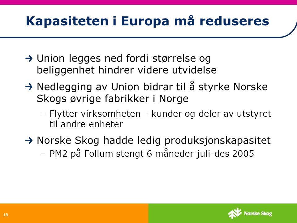 18 Kapasiteten i Europa må reduseres Union legges ned fordi størrelse og beliggenhet hindrer videre utvidelse Nedlegging av Union bidrar til å styrke