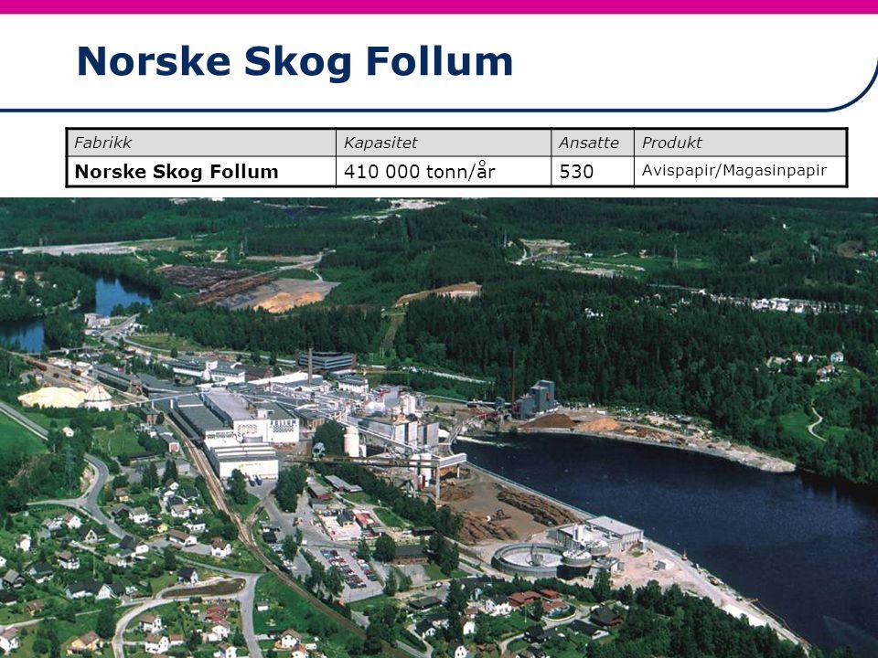 20 Norske Skog Follum FabrikkKapasitetAnsatteProdukt Norske Skog Follum410 000 tonn/år530 Avispapir/Magasinpapir