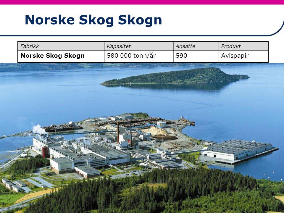 21 Norske Skog Skogn FabrikkKapasitetAnsatteProdukt Norske Skog Skogn580 000 tonn/år590Avispapir