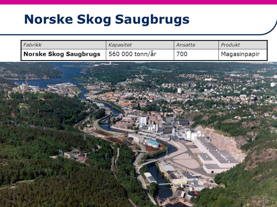22 Norske Skog Saugbrugs FabrikkKapasitetAnsatteProdukt Norske Skog Saugbrugs560 000 tonn/år700Magasinpapir