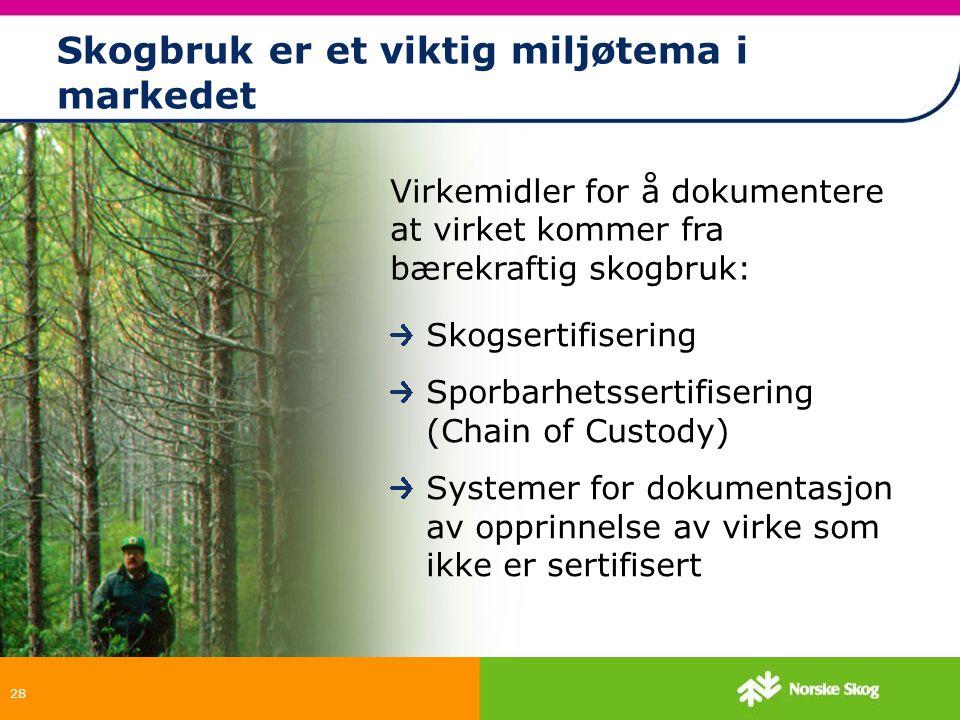 28 Skogbruk er et viktig miljøtema i markedet Skogsertifisering Sporbarhetssertifisering (Chain of Custody) Systemer for dokumentasjon av opprinnelse