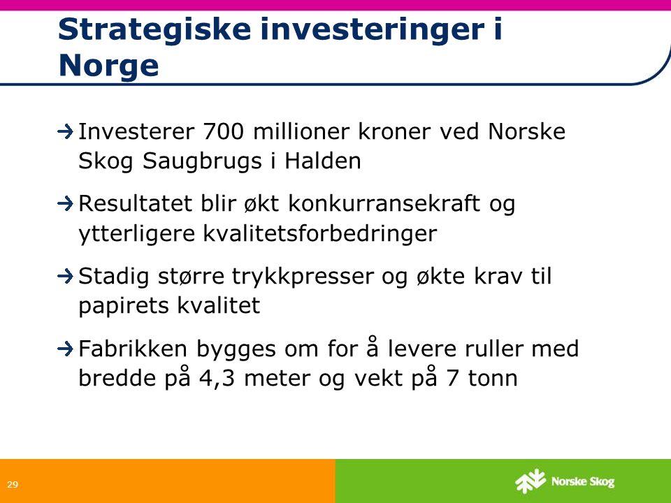29 Strategiske investeringer i Norge Investerer 700 millioner kroner ved Norske Skog Saugbrugs i Halden Resultatet blir økt konkurransekraft og ytterl