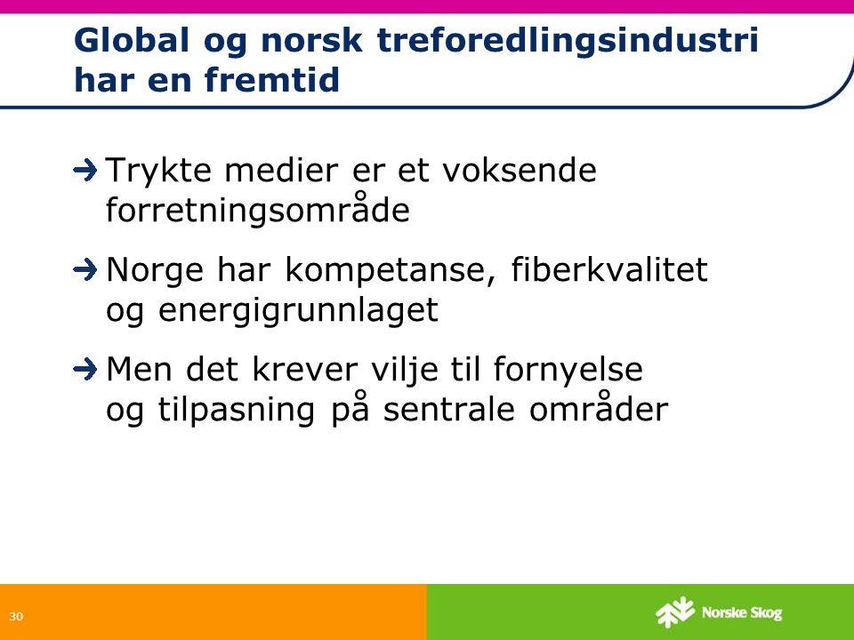 30 Global og norsk treforedlingsindustri har en fremtid Trykte medier er et voksende forretningsområde Norge har kompetanse, fiberkvalitet og energigr