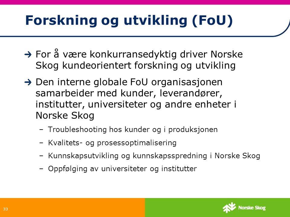 33 Forskning og utvikling (FoU) For å være konkurransedyktig driver Norske Skog kundeorientert forskning og utvikling Den interne globale FoU organisa