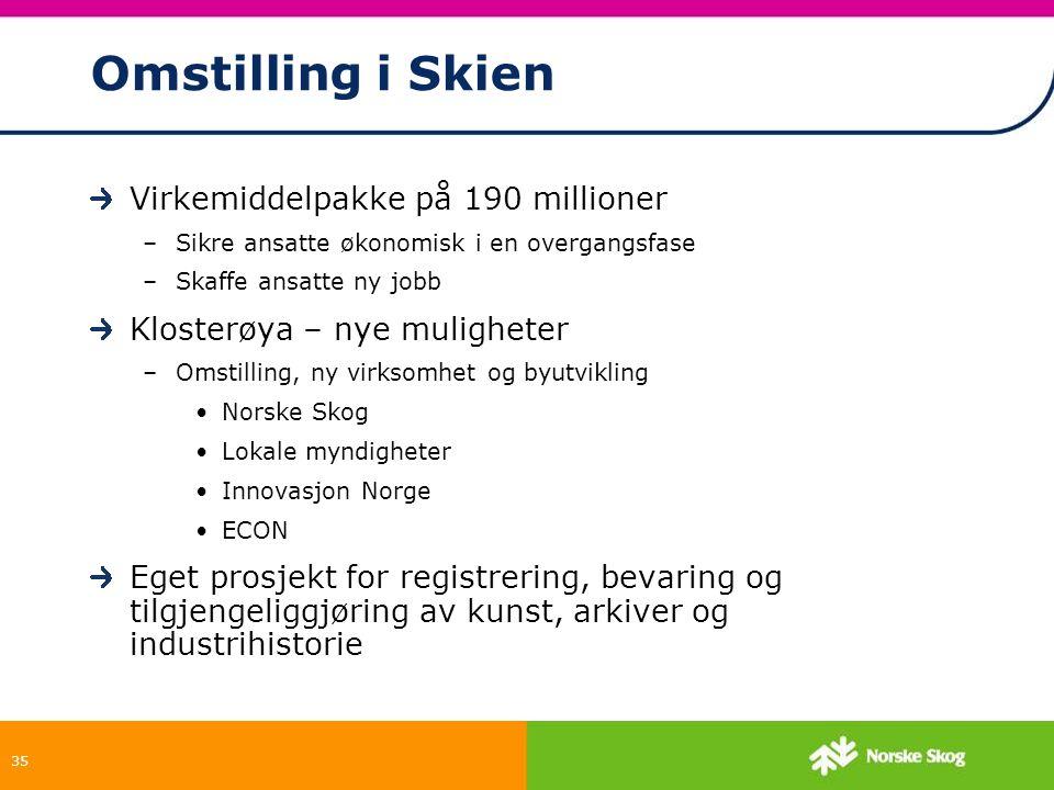 35 Omstilling i Skien Virkemiddelpakke på 190 millioner –Sikre ansatte økonomisk i en overgangsfase –Skaffe ansatte ny jobb Klosterøya – nye mulighete