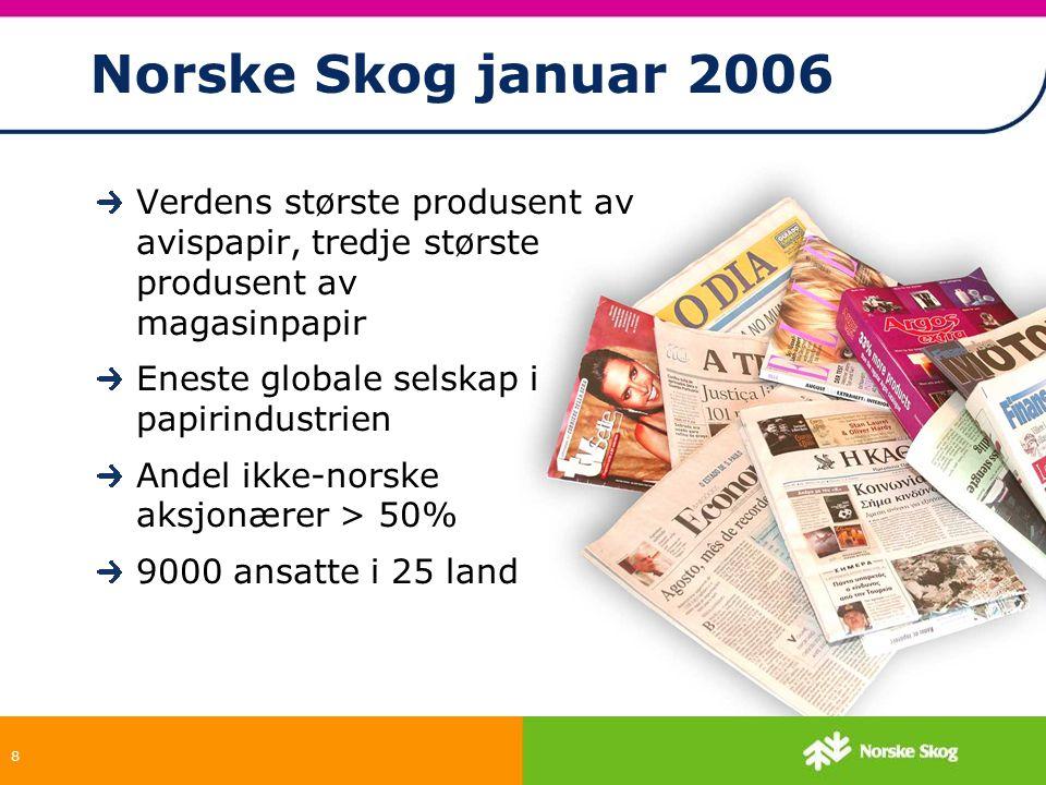 8 Norske Skog januar 2006 Verdens største produsent av avispapir, tredje største produsent av magasinpapir Eneste globale selskap i papirindustrien An