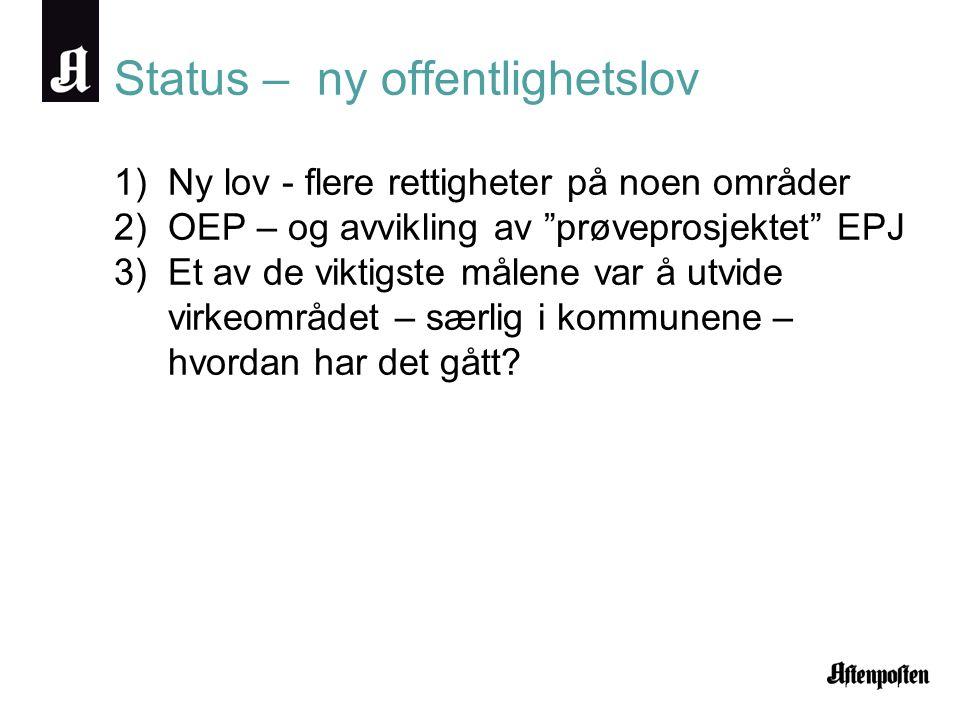 Status – ny offentlighetslov 1)Ny lov - flere rettigheter på noen områder 2)OEP – og avvikling av prøveprosjektet EPJ 3)Et av de viktigste målene var å utvide virkeområdet – særlig i kommunene – hvordan har det gått