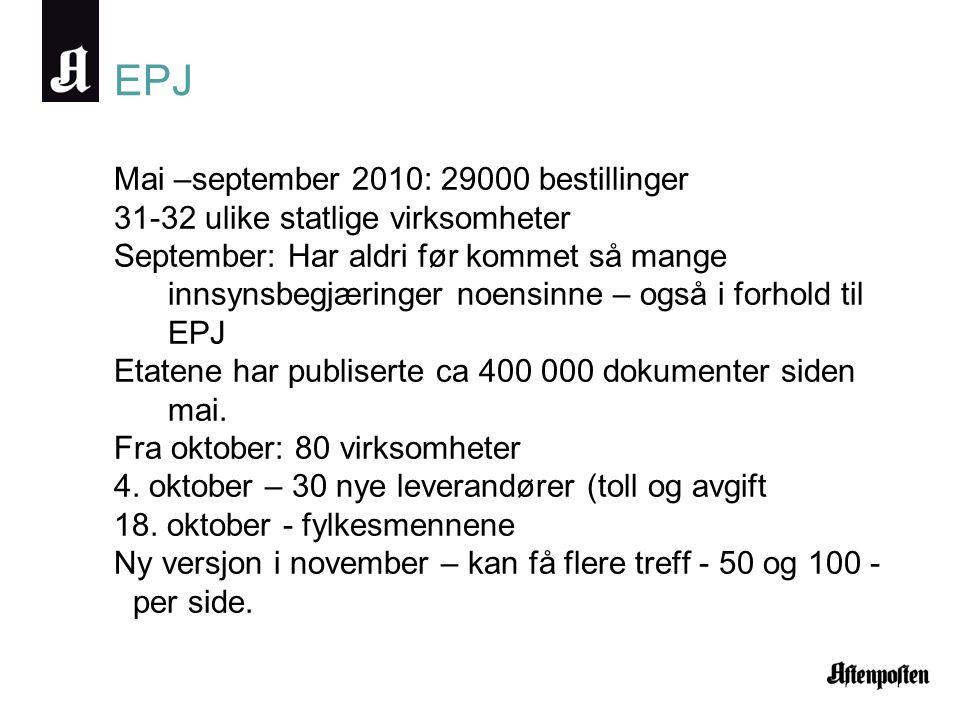 EPJ Mai –september 2010: 29000 bestillinger 31-32 ulike statlige virksomheter September: Har aldri før kommet så mange innsynsbegjæringer noensinne – også i forhold til EPJ Etatene har publiserte ca 400 000 dokumenter siden mai.