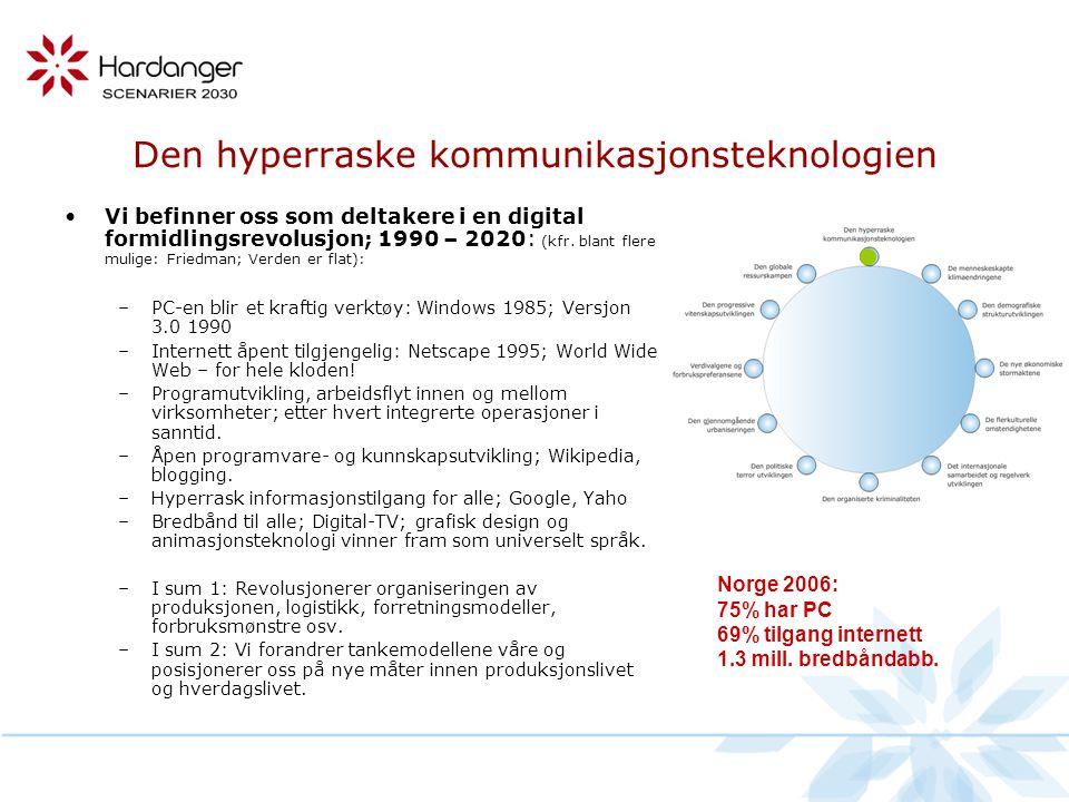 Den hyperraske kommunikasjonsteknologien •Vi befinner oss som deltakere i en digital formidlingsrevolusjon; 1990 – 2020: (kfr.