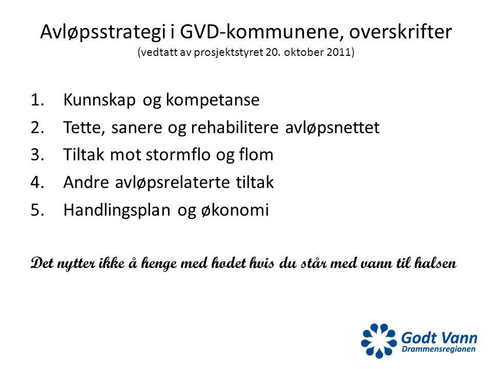 Avløpsstrategi i GVD-kommunene, overskrifter (vedtatt av prosjektstyret 20. oktober 2011) 1.Kunnskap og kompetanse 2.Tette, sanere og rehabilitere avl