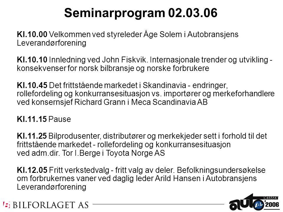 Kl.10.00 Velkommen ved styreleder Åge Solem i Autobransjens Leverandørforening Kl.10.10 Innledning ved John Fiskvik. Internasjonale trender og utvikli