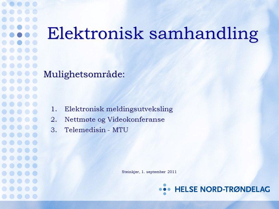 Elektronisk samhandling Mulighetsområde: Mulighetsområde: 1.Elektronisk meldingsutveksling 2.Nettmøte og Videokonferanse 3.Telemedisin - MTU Steinkjer, 1.