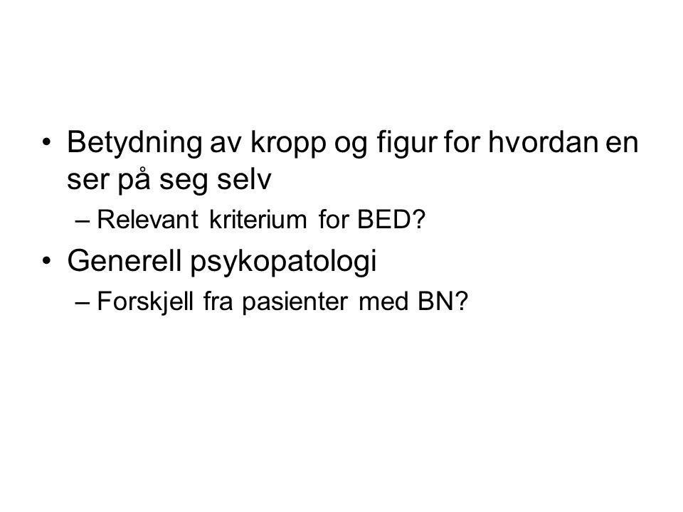 •Betydning av kropp og figur for hvordan en ser på seg selv –Relevant kriterium for BED? •Generell psykopatologi –Forskjell fra pasienter med BN?