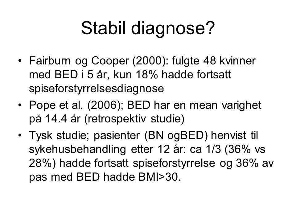 Stabil diagnose? •Fairburn og Cooper (2000): fulgte 48 kvinner med BED i 5 år, kun 18% hadde fortsatt spiseforstyrrelsesdiagnose •Pope et al. (2006);