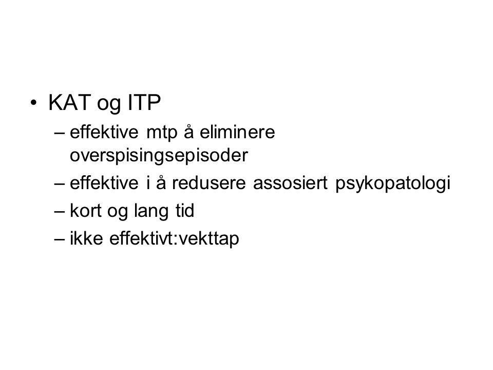 •KAT og ITP –effektive mtp å eliminere overspisingsepisoder –effektive i å redusere assosiert psykopatologi –kort og lang tid –ikke effektivt:vekttap
