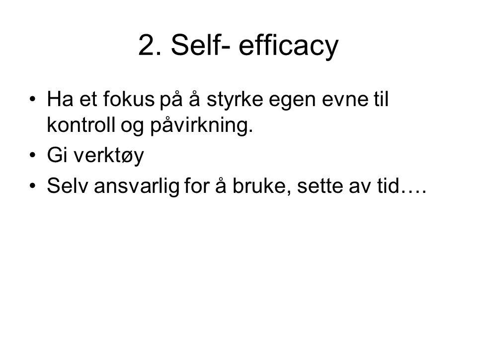 2. Self- efficacy •Ha et fokus på å styrke egen evne til kontroll og påvirkning. •Gi verktøy •Selv ansvarlig for å bruke, sette av tid….