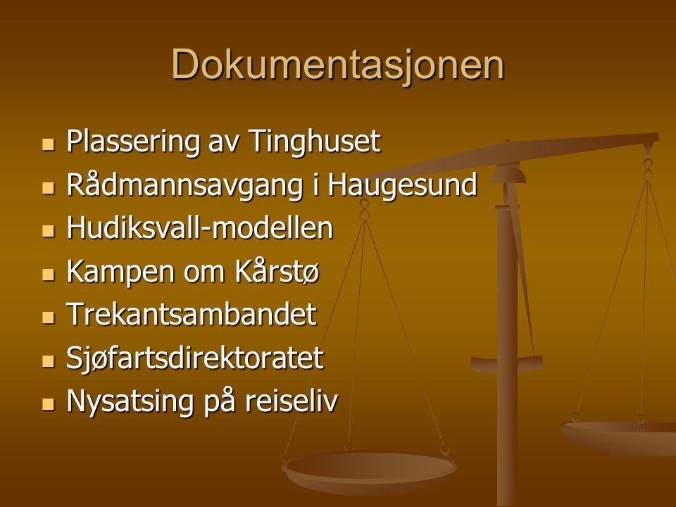 Dokumentasjonen  Plassering av Tinghuset  Rådmannsavgang i Haugesund  Hudiksvall-modellen  Kampen om Kårstø  Trekantsambandet  Sjøfartsdirektora
