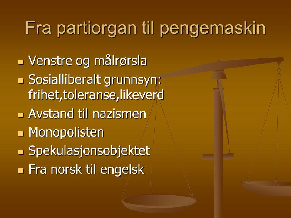 Fra partiorgan til pengemaskin  Venstre og målrørsla  Sosialliberalt grunnsyn: frihet,toleranse,likeverd  Avstand til nazismen  Monopolisten  Spe