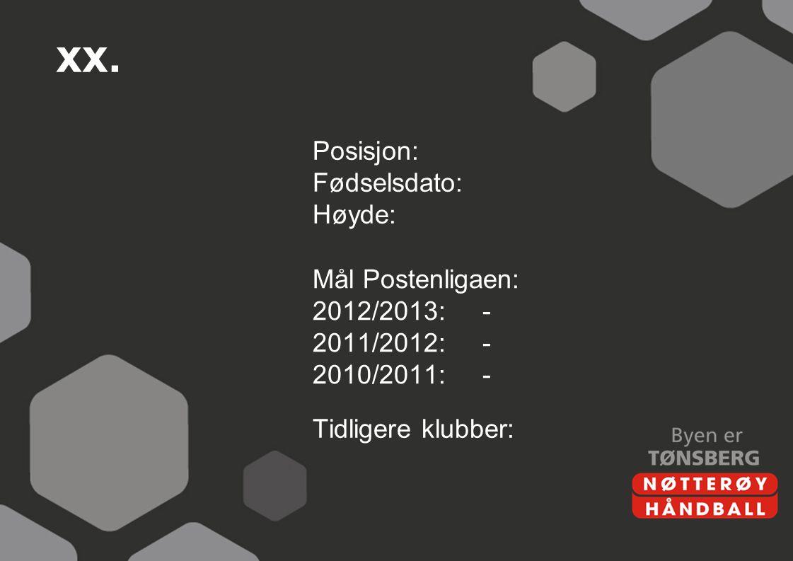 xx. Posisjon: Fødselsdato: Høyde: Mål Postenligaen: 2012/2013:- 2011/2012:- 2010/2011:- Tidligere klubber: