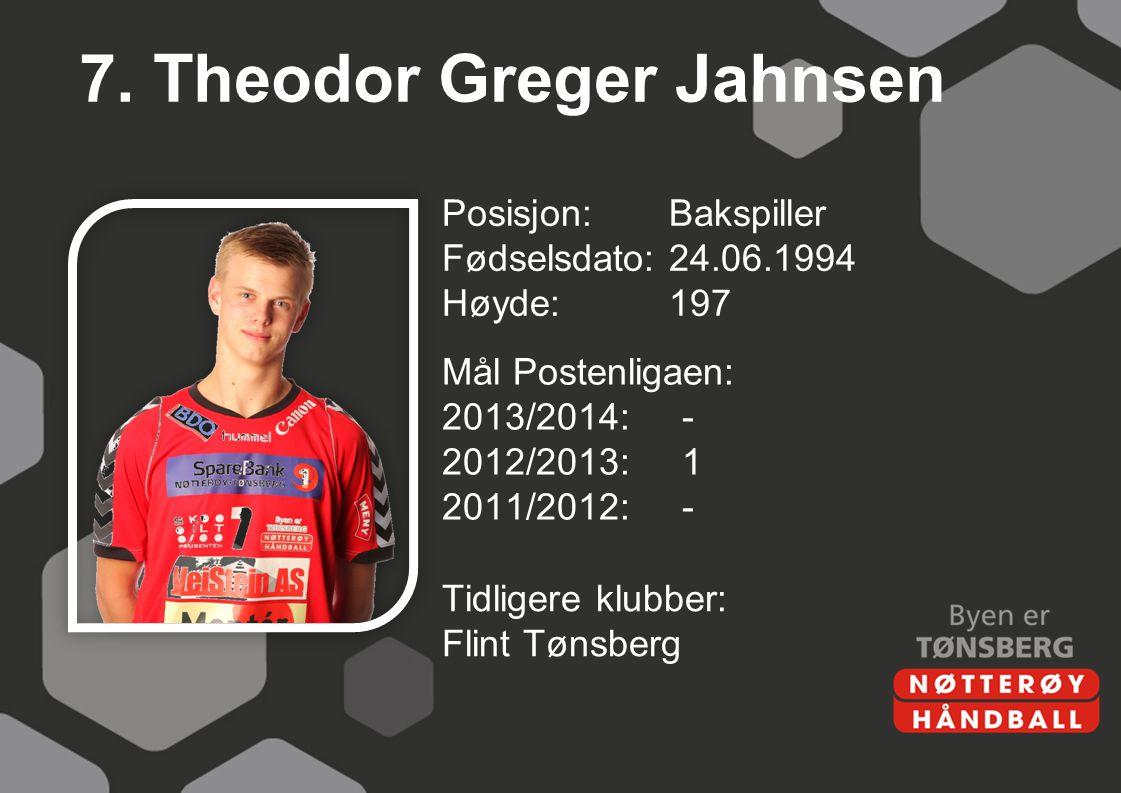 7. Theodor Greger Jahnsen Posisjon:Bakspiller Fødselsdato:24.06.1994 Høyde:197 Mål Postenligaen: 2013/2014:- 2012/2013:1 2011/2012:- Tidligere klubber