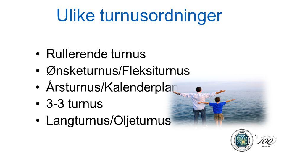 Ulike turnusordninger •Rullerende turnus •Ønsketurnus/Fleksiturnus •Årsturnus/Kalenderplan •3-3 turnus •Langturnus/Oljeturnus