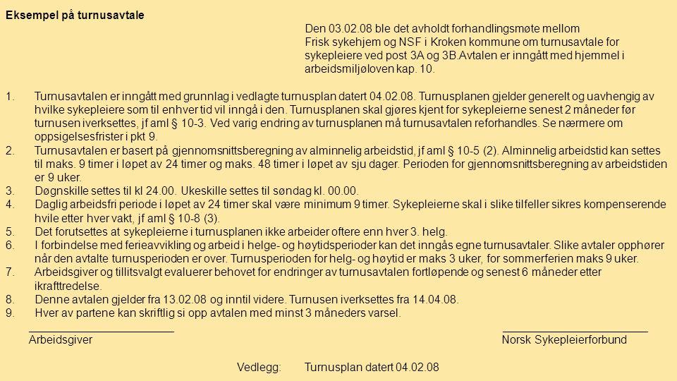 Eksempel på turnusavtale Den 03.02.08 ble det avholdt forhandlingsmøte mellom Frisk sykehjem og NSF i Kroken kommune om turnusavtale for sykepleiere v