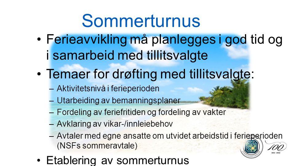 Sommerturnus •Ferieavvikling må planlegges i god tid og i samarbeid med tillitsvalgte •Temaer for drøfting med tillitsvalgte: –Aktivitetsnivå i feriep