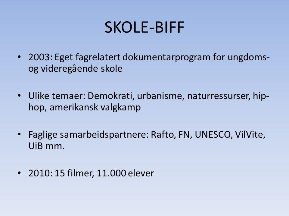 SKOLE-BIFF • Støttespiller UNESCOs rapport: • For Den norske UNESCO-kommisjonen vil det være svært positivt om deler av filmtilbudet og undervisningsopplegg som utarbeides i forbindelse med BIFF kan gjøres tilgjengelig nasjonalt.