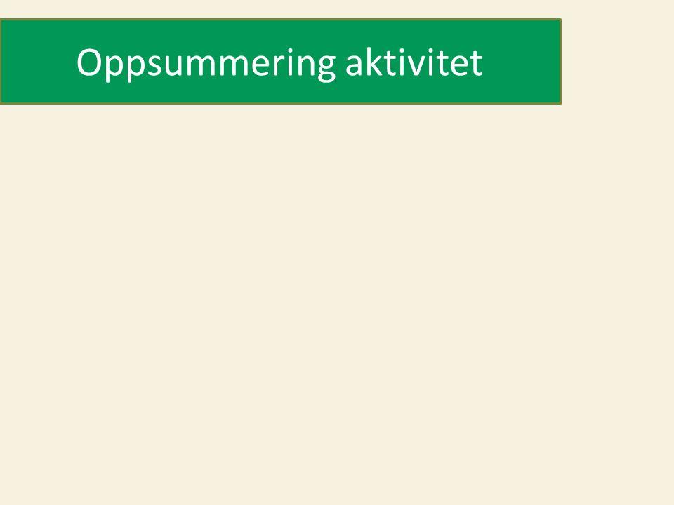Oppsummering aktivitet