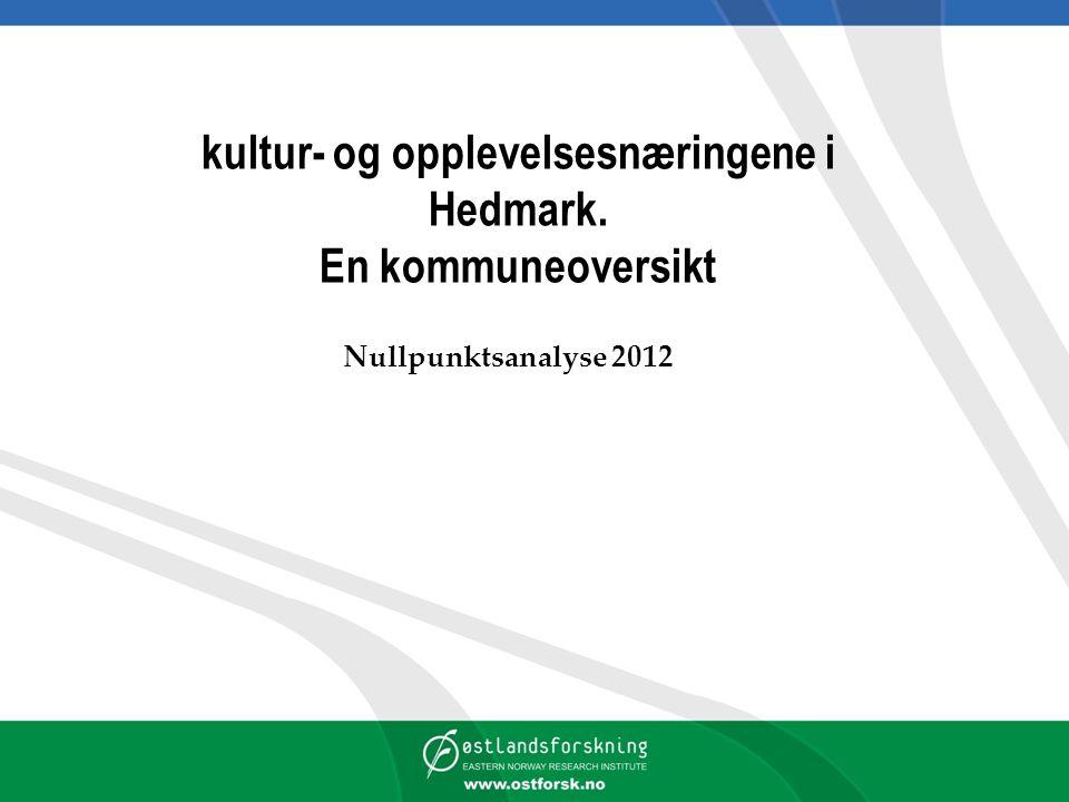 kultur- og opplevelsesnæringene i Hedmark. En kommuneoversikt Nullpunktsanalyse 2012