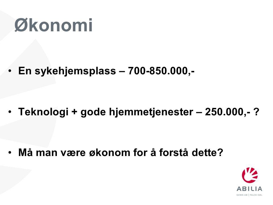 •En sykehjemsplass – 700-850.000,- •Teknologi + gode hjemmetjenester – 250.000,- ? •Må man være økonom for å forstå dette? Økonomi