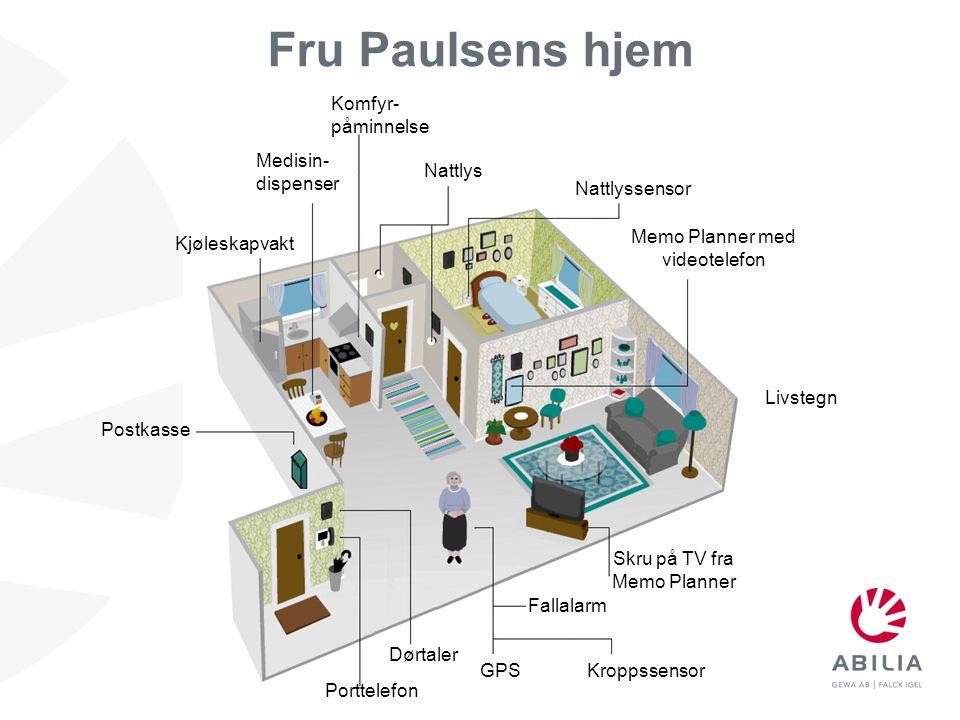 Fru Paulsens hjem Nattlyssensor Fallalarm Kjøleskapvakt Komfyr- påminnelse Postkasse Medisin- dispenser Nattlys Skru på TV fra Memo Planner Dørtaler P