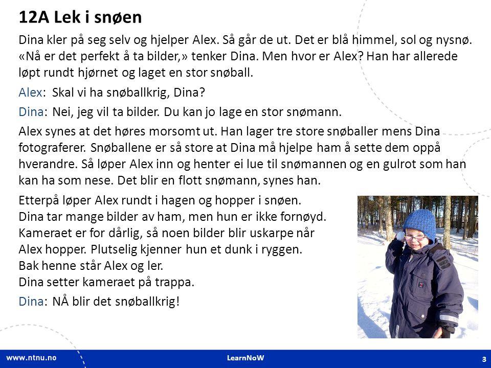 LearnNoW 12A Lek i snøen Dina kler på seg selv og hjelper Alex. Så går de ut. Det er blå himmel, sol og nysnø. «Nå er det perfekt å ta bilder,» tenker