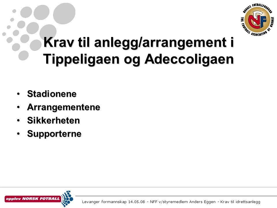 Levanger formannskap 14.05.08 - NFF v/styremedlem Anders Eggen - Krav til idrettsanlegg Krav til anlegg/arrangement i Tippeligaen og Adeccoligaen •Sta